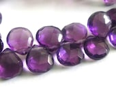 Amethyst Heart Briolette, AAA Faceted Amethyst, MATCHED PAIRS,  6 Pcs, High Quality, Brides, Feburary Birthstone, 8-9mm