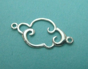 Sterling Silver SIDEWAYS Cloud Connector Link Charm, 1 PC, 925 Natures Charms Pendant, 9x15mm,
