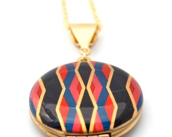 "Vintage Locket Necklace Alyson Fox Art ""Geometric"" One Inch Size"