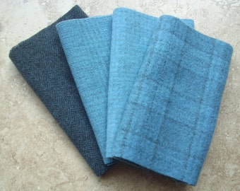 """Hand Dyed Wool Felt, LAKE v. 2, Four 6.5"""" x 16"""" pieces in Soft Watery Blue, Perfect for Rug Hooking, Applique and Crafts"""
