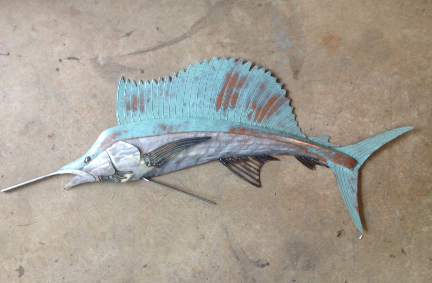 Sailfish metal wall art fish sculpture beach coastal tropical for Fish metal wall art