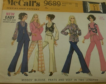 Misses blouse, pants and vest in two lengths - 1960's McCalls 9689 size 12