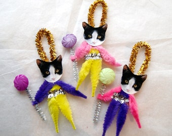 3 Vintage Style Chenille Ornaments, Tuxedo Cats,  set of three  (160)