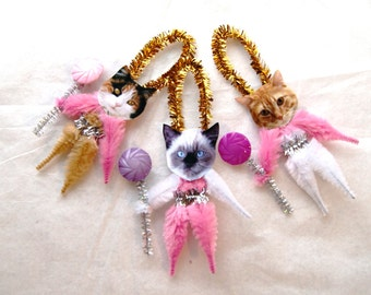 Vintage Style Chenille Ornaments, Cat Chenille set of three  (161)