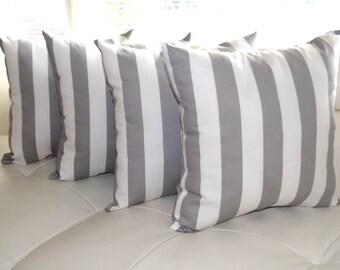 Gray Pillows, Gray Pillows, Grey White Stripe Pillows, Decorative Pillows, Gray Throw Pillow, Grey Accent Pillow - 4 PK - Free ship