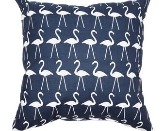 Premier Prints Flamingo Oxford Decorative Outdoor Throw Pillow- Navy Blue Bird Outdoor Pillow - Free Shipping