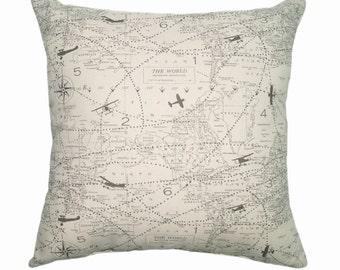 Airplane STUFFED Throw Pillow, Map Throw Pillow, Decorative Pillow, Map Accent Pillow, Natural Grey Pillow, Plane Pillow, Aviation Free Ship