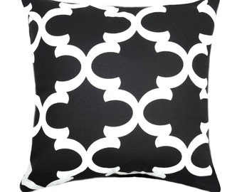 Black Moroccan Quatrefoil Throw Pillow, Black and White Decorative Pillow, Moroccan Tile STUFFED Pillow, Black Lattice Pillow - Free Ship