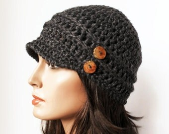Grey Hemp Wool Eco Friendly Woodland Inpsired hat Boho tree branch buttons Autumn Fall Winter Fashion Made to Order