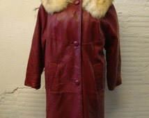 Leather Jacket Coat Vintage 1970s Oxblood Long Fur Collar