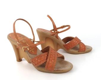 Famolare Platform Sandals Vintage 1970s Wave sole Wedges Be-Hi Brown Leather Women's 8
