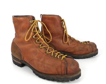 Hiking Leather Boots Vintage 1970s Danner Distressed Brown Lace up Logger men's size 11 1/2
