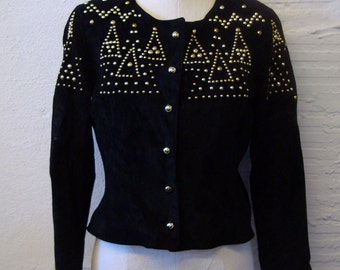 Studded Leather Jacket Vintage 1980s Suede Positano Pelle Cropped Medium