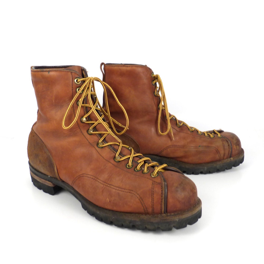 hiking leather boots vintage 1970s danner distressed brown