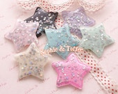 Big Glitter Star Resin Cabochon 40mm / Star Cabochon / Silver Glitter Stars / Star Confetti - 7pcs