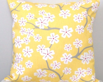 Yellow Decorative Pillow Cover - Pale Yellow Accent Pillow - Yellow and White Floral Pillow - Cherry Blossoms - Throw Pillow
