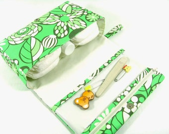 Small diaper bag, green floral diaper purse, diaper clutch with clear zipper pouch, baby shower gift