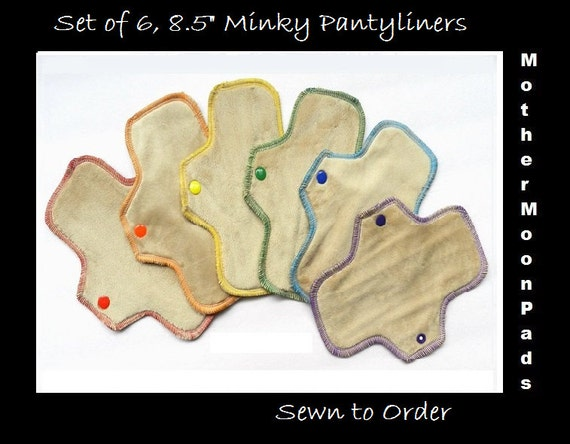 "RAINBOW Cloth Pantyliner Set - 6, 8.5"" Minky Liners by MotherMoonPads"