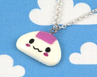 Kawaii Onigiri Omusubi Rice Ball Necklace Pink