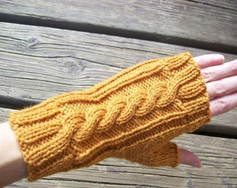 Wool Cable Knit Fingerless Gloves Pumpkin