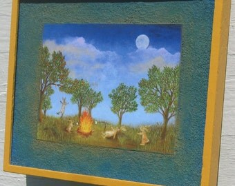 rabbit art print rabbits Party in the Park Campfire in the moonlight framed  camping out moon