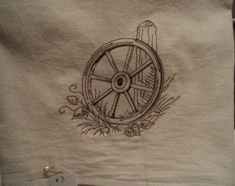 Wooden Wagon Wheel Floursack Dishtowel (kitchen towel, tea towel) machine embroidered