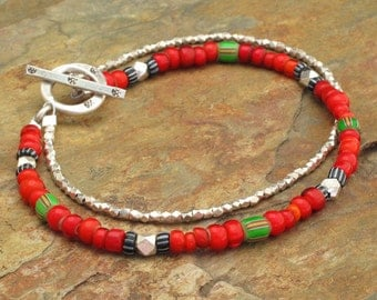 Trade Bead Thai Hill Tribe Silver Bracelet - Fiesta
