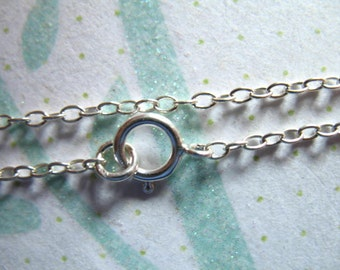 1 pc, 16 or 18  inch, Sterling Silver Finished Chain, Round Cable, 2.3x1.65 mm, wholesale solo done d65.d hp