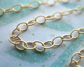 Shop Sale..6 feet, 14k Gold Filled Chain, 10-20% less,Textured Flat Cable Chain, Oval Links, 3.5x2.3 mm, delicate jewelry chain MMGF..MGF7
