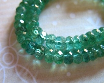 Sale..5 10 25 50 pcs, 3-3.5 mm, EMERALD RONDELLES, Luxe AAA Zambian Emerald Beads, may birthstone brides bridal holidays true 35