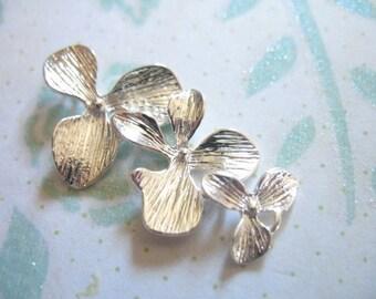 Shop Sale..20 pcs, ORCHID Connectors Links Pendants Charms, Orchid Flowers Cascading Trio, 34x18 mm, wholesale bridal ts hp
