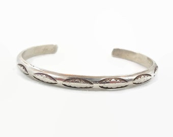 Native American Cuff, Sterling Silver, Vintage Bracelet, Rattlesnake Jaw Pattern, Hand Tooled Chiseled, Stacking, Boho Statement, Bohemian