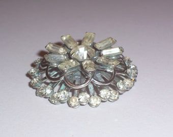 Vintage Round Rhinestone Brooch or Pin