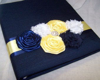 Custom WEDDING GUEST BOOK with Photo Spot -  Navy Blue Dupioni Silk, Yellow, White, Modern Shabby, Rosette Flowers
