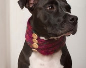 "18"" Knit Dog Cowl/Neck Warmer - Burgundy Marble"