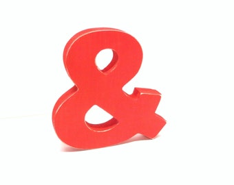 Wood Ampersand Sign - & - 5 Inch Shelf Sitter Style - Painted Red - Distressed - Typography - Wedding - Coworker Gift - Corporate Gift