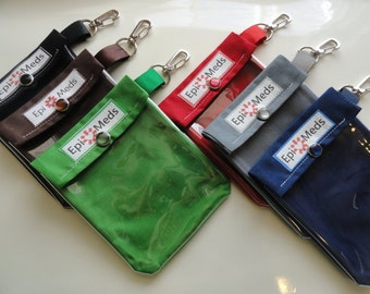 1 Epi Auvi Q / Inhaler Pouch Clear Front W/ Clip 4x5 Holds 2 Allergy Injectors or 1 Asthma Puffer Your Choice Organic Fabric Made in America
