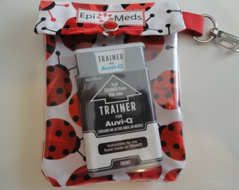 Epi Pen Auvi Q Meds or Asthma Inhaler 4x5 Pouch Clear Front W/ Clip Holds 2 Square Allergy Injectors  or 1 Puffer - Ladybugs