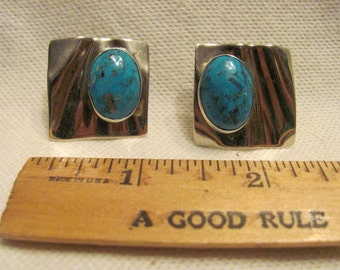 On Sale.  Sterling Silver Turquoise Native American earrings modern design