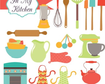 Instant Download - In My Kitchen Brights - digital clipart and vectors- printable artwork - commercial use