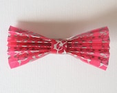 Pink and Silver Paper Bow Hair Clip / Paper Hair Accessories / Gifts for Her / Girls / Japanese Paper / Wedding Hair / Alligator Clip