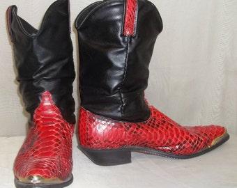 Vintage Dingo Red Black Snake Skin Slouch Boots 9M Leather Cowboy Western