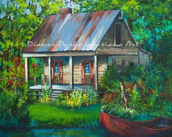 The Bayou Cabin, Louisiana Swamp Cabin, Fishing Camp on the Bayou, Louisiana Swamp Scene and Souvenir Gift for Him or Her, FREE SHIPPING!