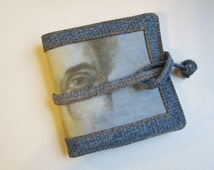 Denim Wallet, Blue Wallet, novelty purse, fabric card case, blue and sepia, upcycled denim, bifold wallet