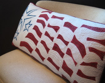 Flag Pillow, Patriotic Stars and Stripes, Large Pillow for Americana Decor, Red White and Blue Sham