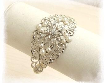 Silver Cuff, Bridal Bracelet, Arm Cuff Bracelet, Crystal Bracelet, Wedding Bracelet, Wedding Jewelry, Romantic Bracelet