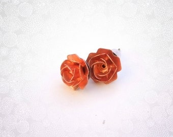 Four Bridesmaids Earrings,Rose Gold Studs,Five Bridesmaids Studs Rose Gold Earrings, Bridesmaids Gift,Floral Studs