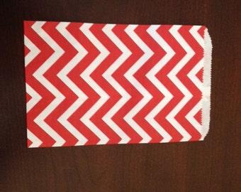 Red Chevron Merchandise Bags - Set of 25