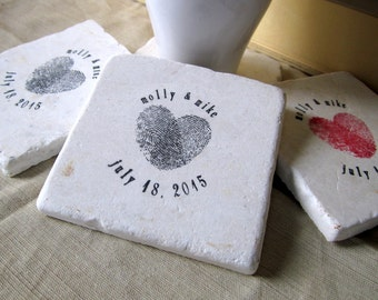 Personalized Heart Thumbprint Tile Coasters - Wedding Gift - Anniversary Keepsake - Set of 4