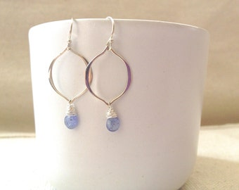 Hammered Sterling Silver Link and Faceted Tanzanite Teardrop Earrings on Sterling Silver
